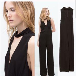 Zara black choker wide leg jumpsuit. Size S